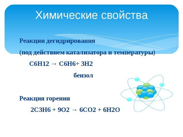 Реакции дегидрирования (под действием катализатора и температуры) С6Н12 → С6Н...