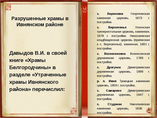 Разрушенные храмы в Ивнянском районе Давыдов В.И. в своей книге «Храмы Белго...