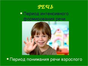 РЕЧЬ Период интенсивного формирования речи Период понимания речи взрослого
