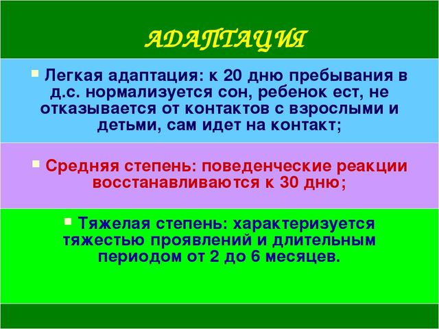 АДАПТАЦИЯ Легкая адаптация: к 20 дню пребывания в д.с. нормализуется сон, реб...