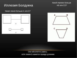 Иллюзия Болдуина Какая линия больше А или Б?