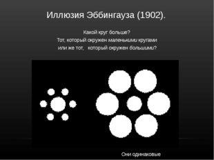 Иллюзия Эббингауза (1902). Какой круг больше?  Тот, который окружен маленьк