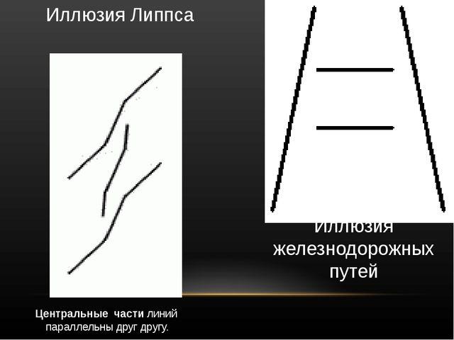 Иллюзия Липпса Центральные  части линий  параллельны друг другу.