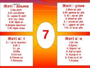 1 7 жалғыз Жеті қазына 1.Ер жігіт 2.Ақыл,білім 3.Қыран бүркіт 4.Сұлу әйел 5.Ж