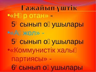 «Нұр отан» - 5ә сынып оқушылары «Ақжол» - 5ғ сынып оқушылары «Коммунистік хал