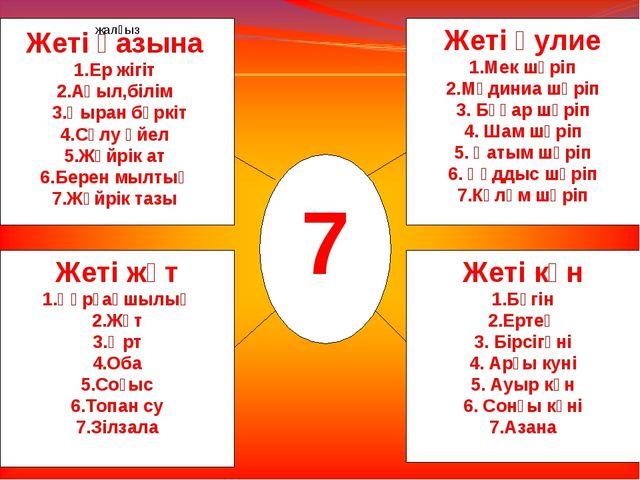 1 7 жалғыз Жеті қазына 1.Ер жігіт 2.Ақыл,білім 3.Қыран бүркіт 4.Сұлу әйел 5.Ж...