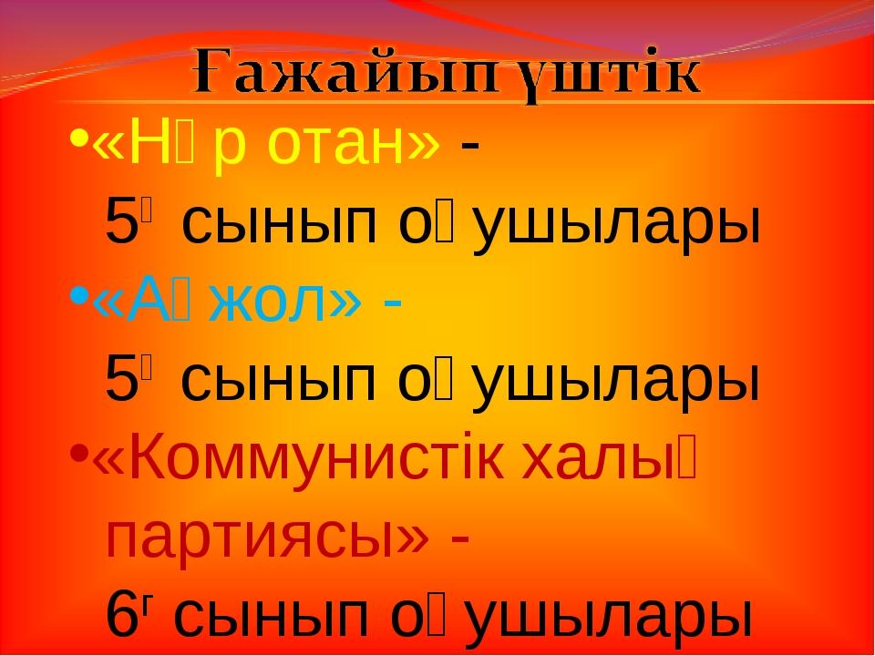 «Нұр отан» - 5ә сынып оқушылары «Ақжол» - 5ғ сынып оқушылары «Коммунистік хал...