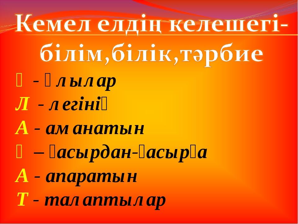 Ұ - Ұлылар Л - легінің А - аманатын Ғ – ғасырдан-ғасырға А - апаратын Т - тал...