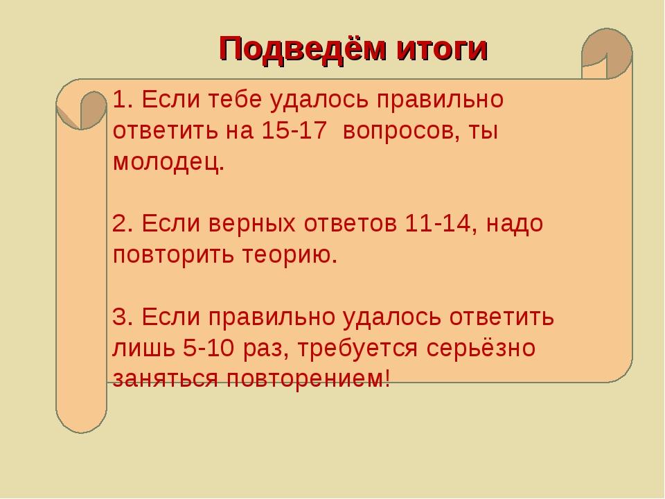 1. Если тебе удалось правильно ответить на 15-17 вопросов, ты молодец. 2. Есл...