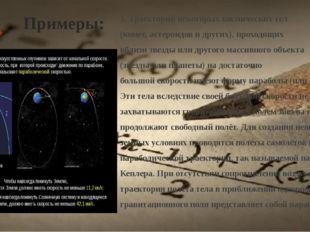 Примеры: 1. Траектории некоторых космических тел (комет,астероидов и других)