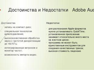 Достоинства и Недостатки Adobe Audition Достоинства запись на компакт-диск;