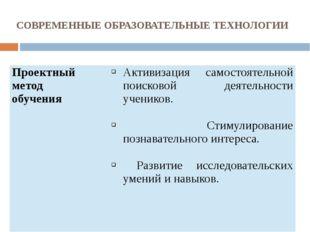 СОВРЕМЕННЫЕ ОБРАЗОВАТЕЛЬНЫЕ ТЕХНОЛОГИИ Проектный метод обучения Активизация с
