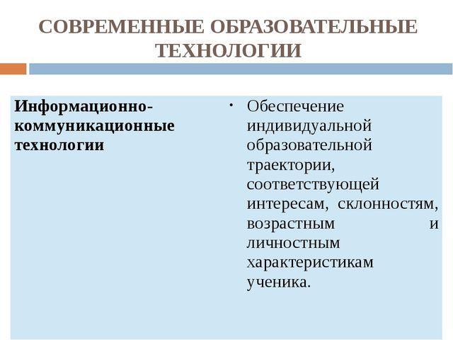 СОВРЕМЕННЫЕ ОБРАЗОВАТЕЛЬНЫЕ ТЕХНОЛОГИИ Информационно-коммуникационныетехнолог...
