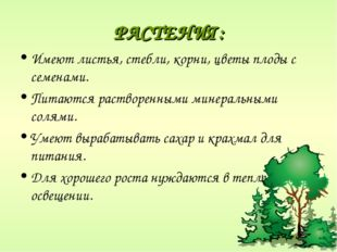 РАСТЕНИЯ: Имеют листья, стебли, корни, цветы плоды с семенами. Питаются раств
