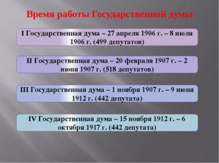 Время работы Государственной думы I Государственная дума – 27 апреля 1906 г.