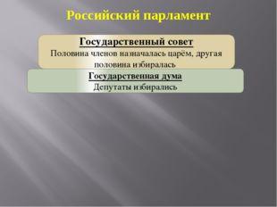 Российский парламент Государственный совет Половина членов назначалась царём,