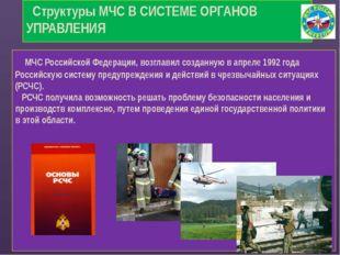 Структуры МЧС В СИСТЕМЕ ОРГАНОВ УПРАВЛЕНИЯ    МЧС Российской Федераци