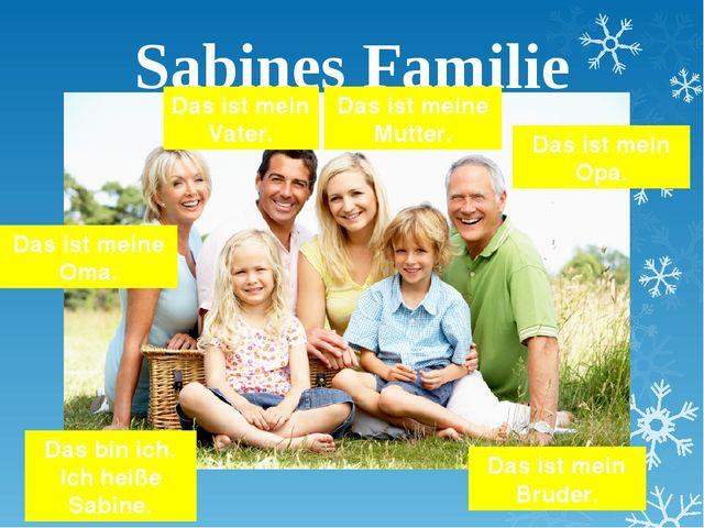 Sabines Familie Das bin ich. Ich heiße Sabine. Das ist mein Vater. Das ist me...