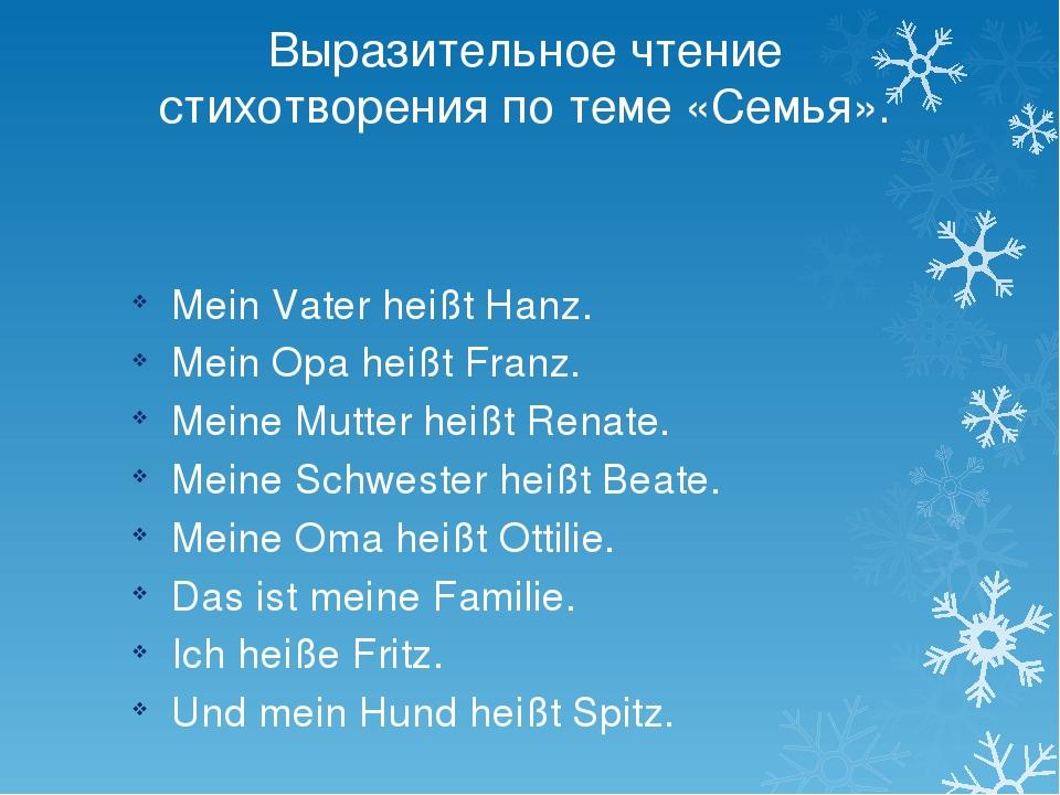Выразительное чтение стихотворения по теме «Семья». Mein Vater heißt Hanz. Me...