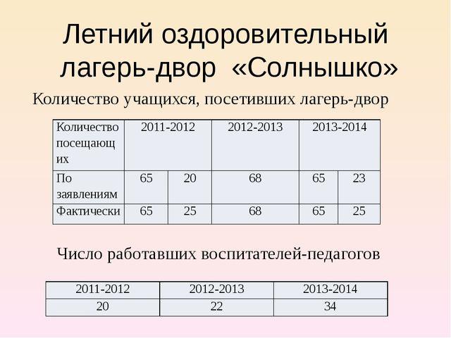 Летний оздоровительный лагерь-двор «Солнышко» Число работавших воспитателей-п...