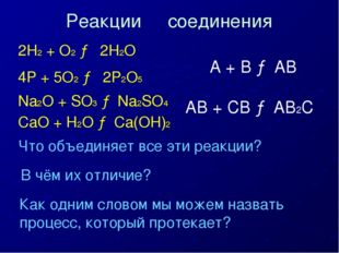 2H2 + O2 → 2H2O 4P + 5O2 → 2P2O5 Na2O + SO3 → Na2SO4 CaO + H2O → Ca(OH)2 Что