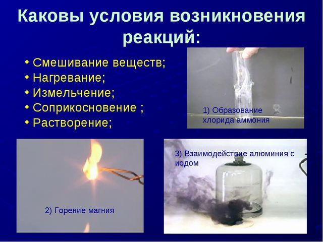 Каковы условия возникновения реакций: 1) Образование хлорида аммония 2) Горен...