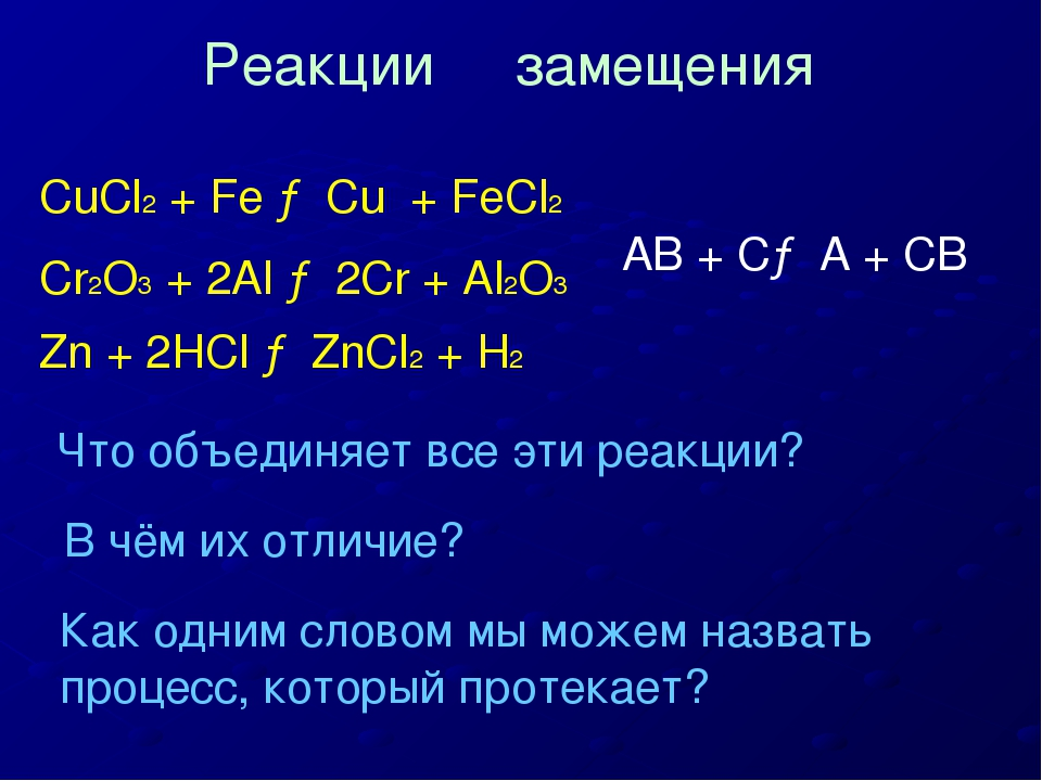 CuCl2 + Fe → Cu + FeCl2 Cr2O3 + 2Al → 2Cr + Al2O3 Zn + 2HCl → ZnCl2 + H2 Что...