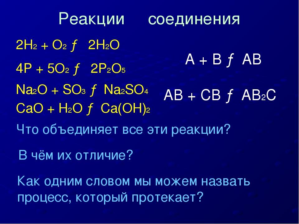 2H2 + O2 → 2H2O 4P + 5O2 → 2P2O5 Na2O + SO3 → Na2SO4 CaO + H2O → Ca(OH)2 Что...