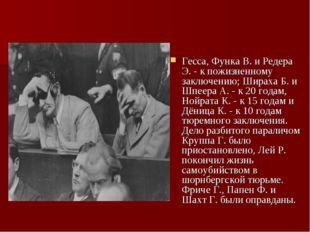 Гесса, Функа В. и Редера Э. - к пожизненному заключению; Шираха Б. и Шпеера А
