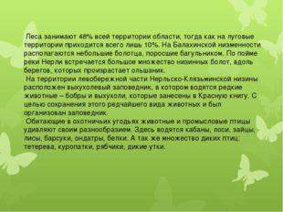 Леса занимают 48% всей территории области, тогда как на луговые территории п