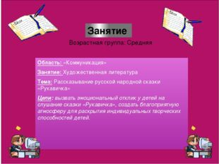 Область: «Коммуникация» Занятие: Художественная литература Тема: Рассказыван