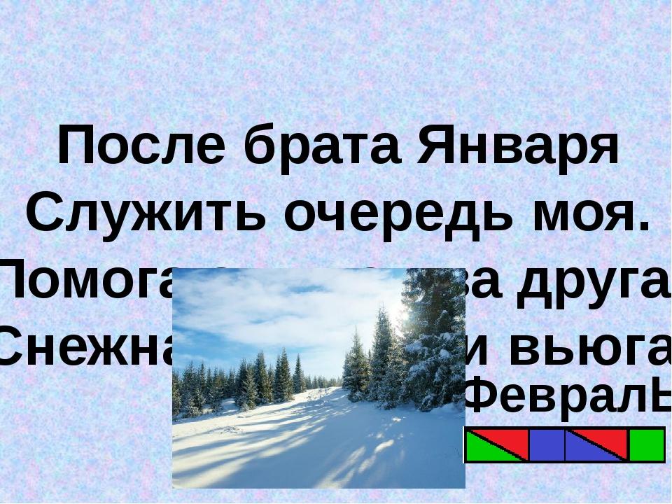 После брата Января Служить очередь моя. Помогают мне два друга: Снежная метел...