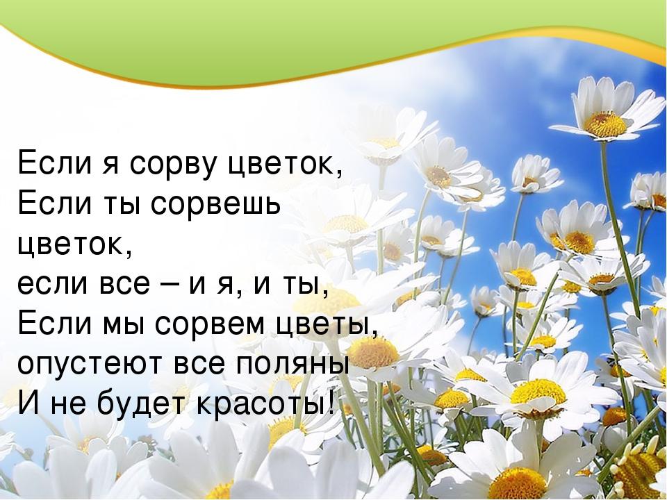 Если я сорву цветок, Если ты сорвешь цветок, если все – и я, и ты, Если мы с...