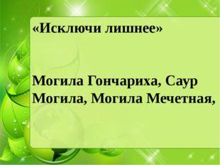 «Исключи лишнее» Могила Гончариха, Саур Могила, Могила Мечетная,