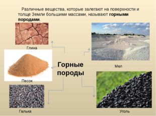 Различные вещества, которые залегают на поверхности и толще Земли большими м