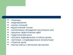 - семинары - моделирование - анализ ситуаций -педагогические чтения - коллект