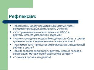 Рефлексия: - Какая связь между нормативными документами, регламентирующими де