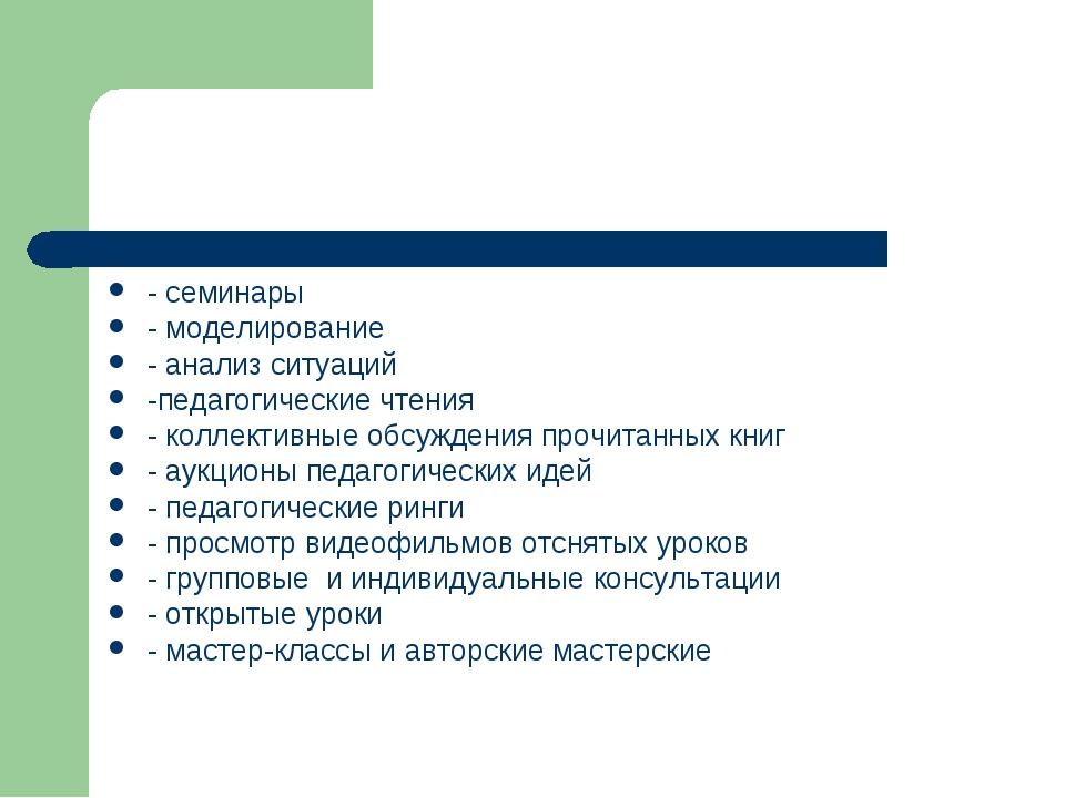 - семинары - моделирование - анализ ситуаций -педагогические чтения - коллект...