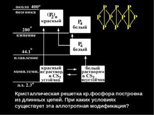 Кристаллическая решетка кр.фосфора построена из длинных цепей. При каких усл