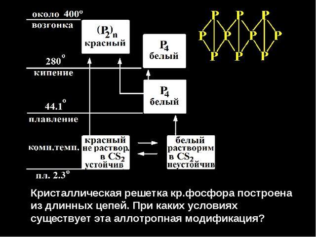 Кристаллическая решетка кр.фосфора построена из длинных цепей. При каких усл...