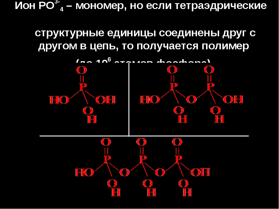 Ион РО3-4 – мономер, но если тетраэдрические структурные единицы соединены др...