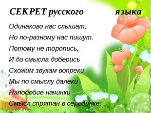 СЕКРЕТ русского языка Одинаково нас слышат, Но по-разному нас пишут. Пото