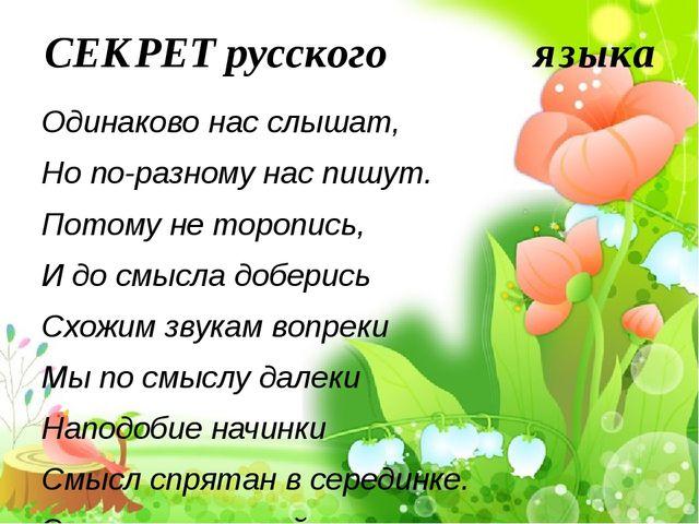 СЕКРЕТ русского языка Одинаково нас слышат, Но по-разному нас пишут. Пото...