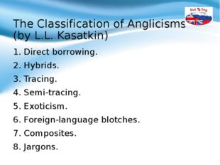 The Classification of Anglicisms (by L.L. Kasatkin) 1. Direct borrowing. 2. H