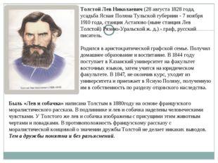 Толстой Лев Николаевич (28 августа 1828 года, усадьба Ясная Поляна Тульской г