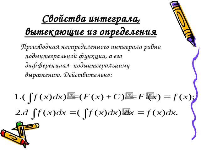 Свойства интеграла, вытекающие из определения Производная неопределенного инт...
