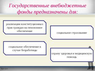 Государственные внебюджетные фонды предназначены для: реализации конституцион