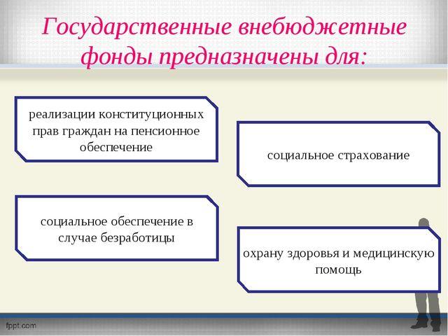 Государственные внебюджетные фонды предназначены для: реализации конституцион...