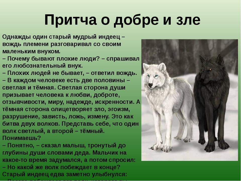 Притча о добре и зле Однажды один старый мудрый индеец – вождь племени разгов...
