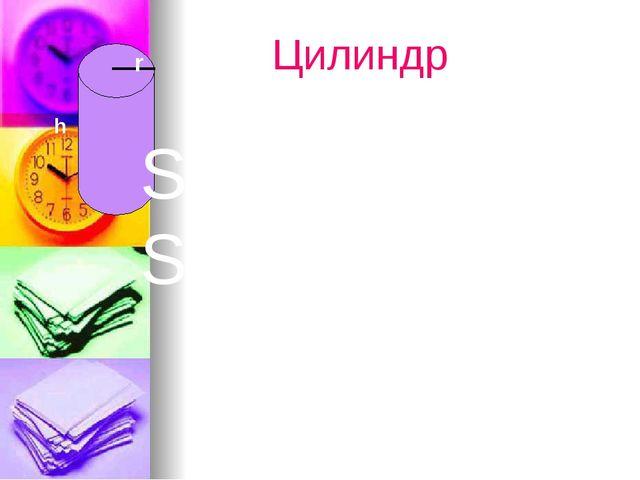 Цилиндр Sбок=2πrh Sцил=2πr(h+r) h r